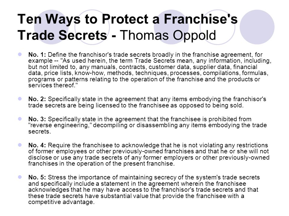 Ten Ways to Protect a Franchise s Trade Secrets - Thomas Oppold