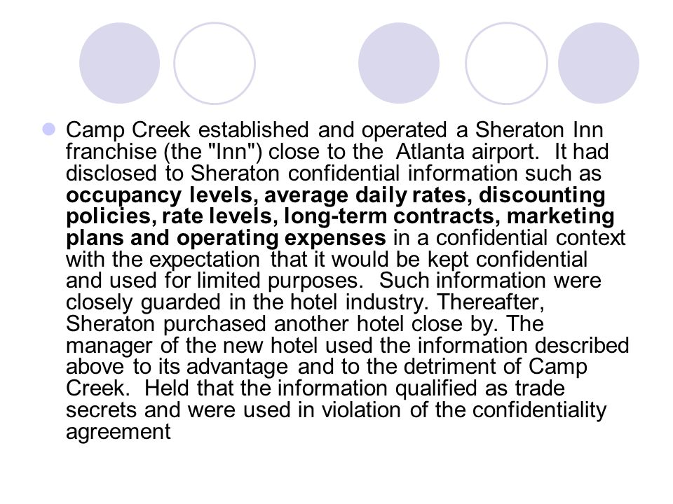 Camp Creek established and operated a Sheraton Inn franchise (the Inn ) close to the Atlanta airport.