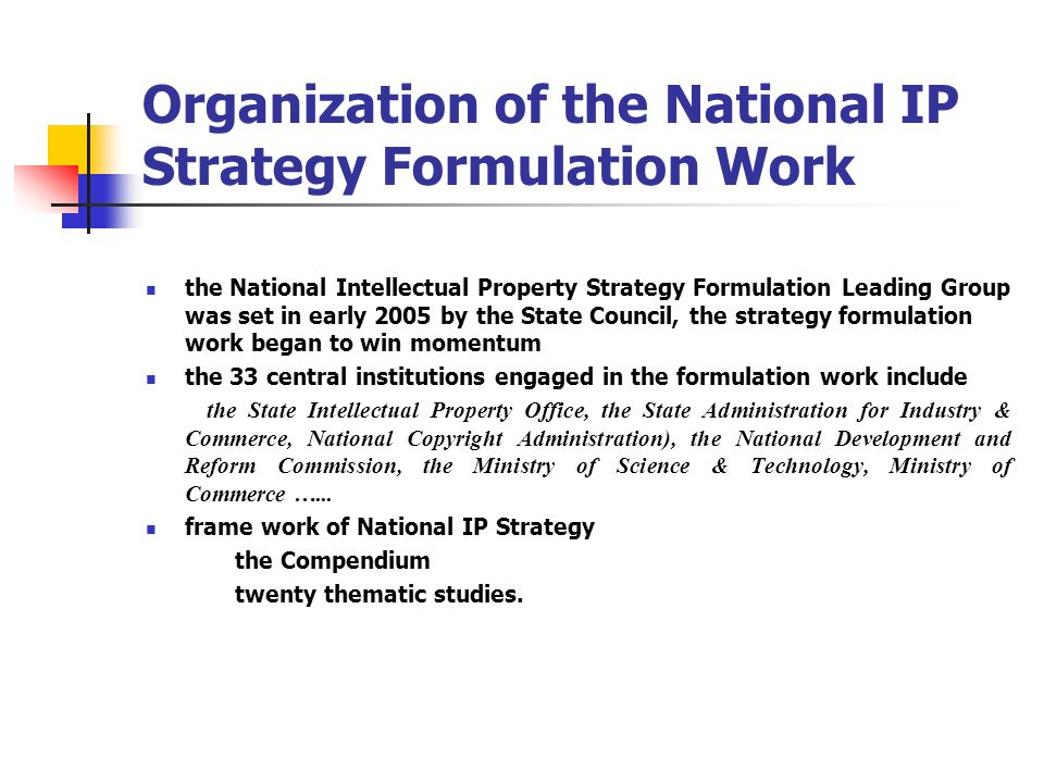 Organization of the National IP Strategy Formulation Work
