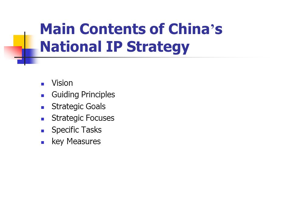 Main Contents of China's National IP Strategy