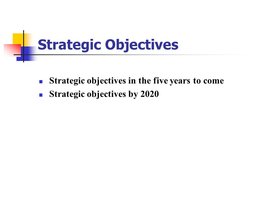 Strategic Objectives Strategic objectives in the five years to come
