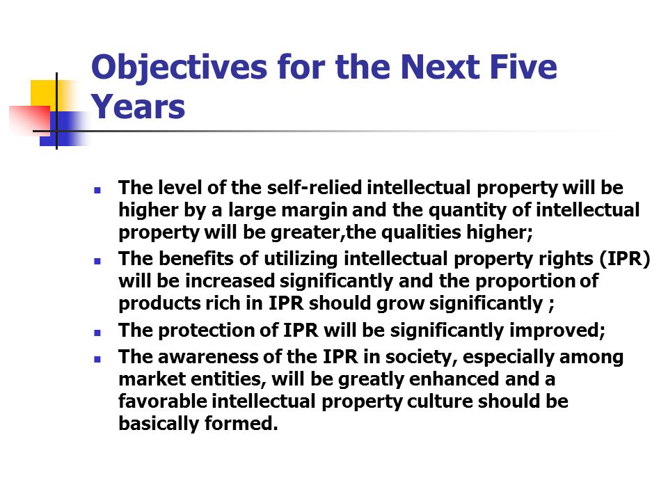 Objectives for the Next Five Years