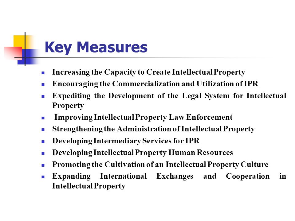 Key Measures Increasing the Capacity to Create Intellectual Property