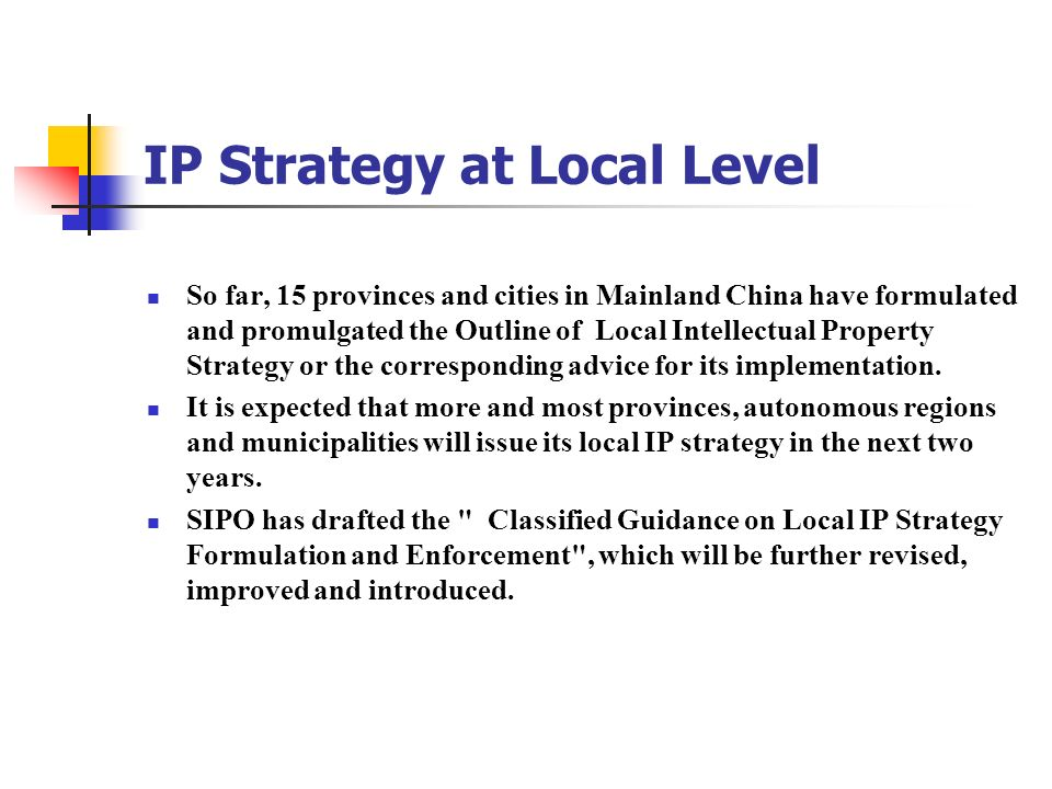 IP Strategy at Local Level