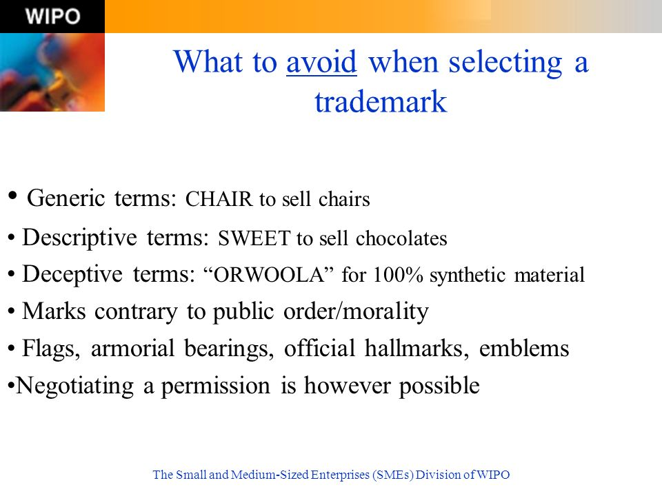What to avoid when selecting a trademark