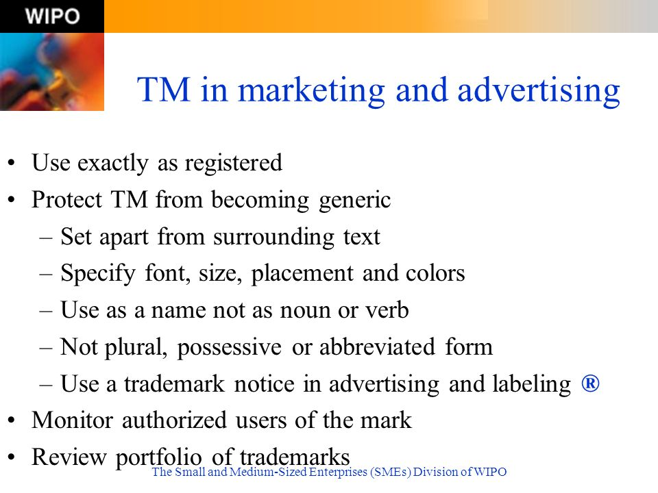TM in marketing and advertising