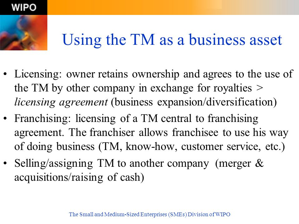 Using the TM as a business asset