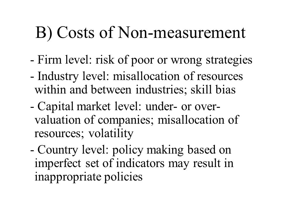 B) Costs of Non-measurement