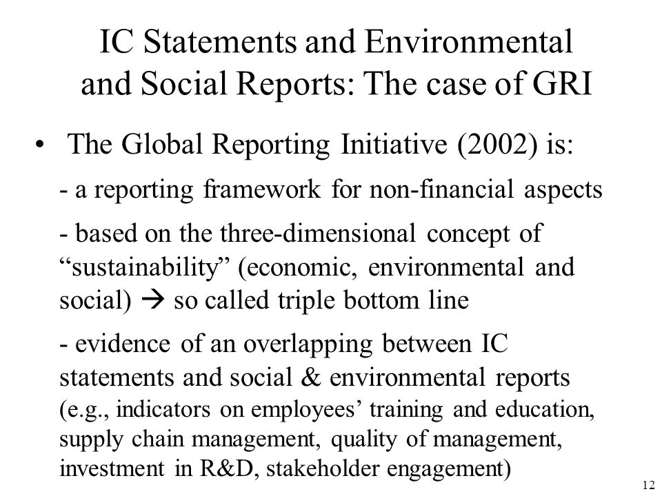 IC Statements and Environmental and Social Reports: The case of GRI