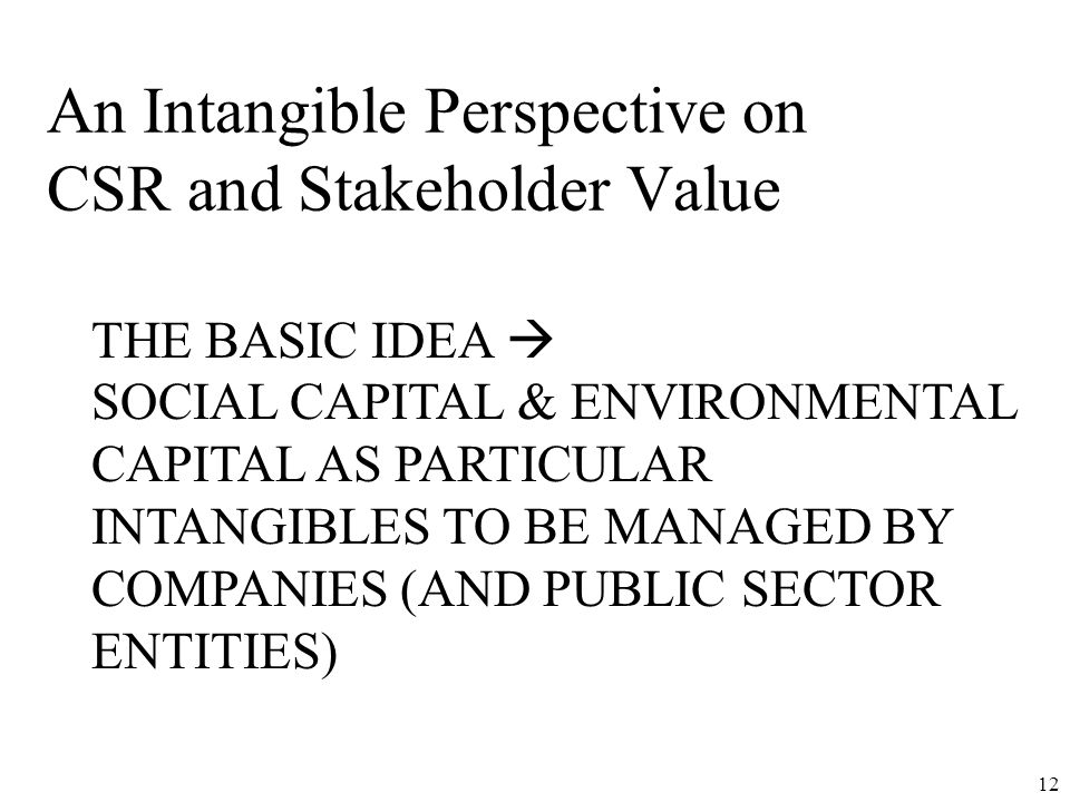 An Intangible Perspective on CSR and Stakeholder Value