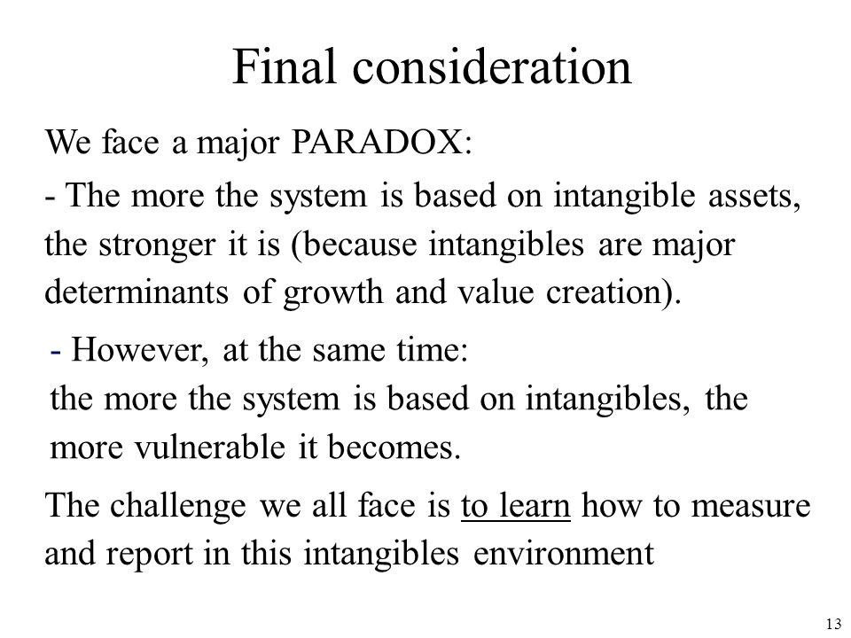 Final consideration We face a major PARADOX: