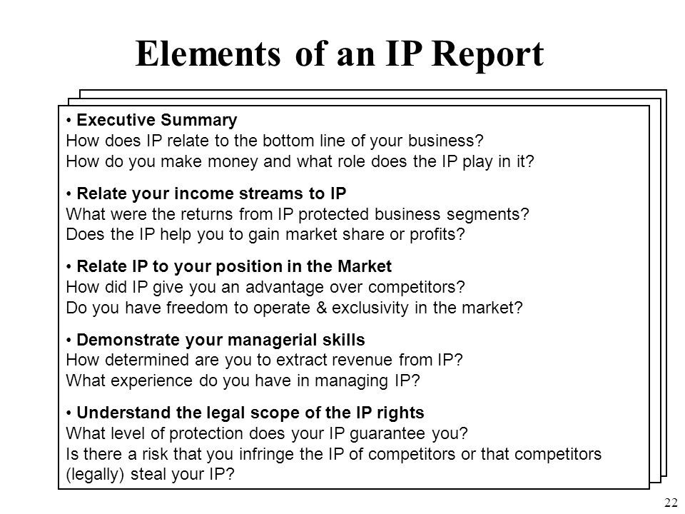 Elements of an IP Report