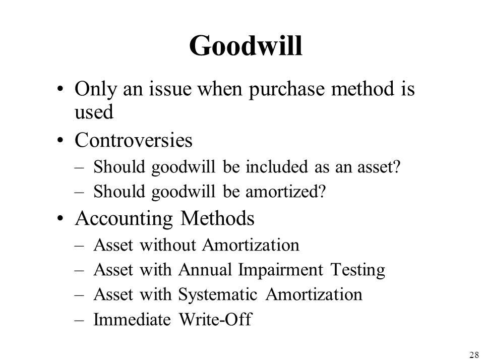 Goodwill Only an issue when purchase method is used Controversies