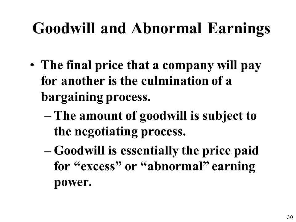 Goodwill and Abnormal Earnings