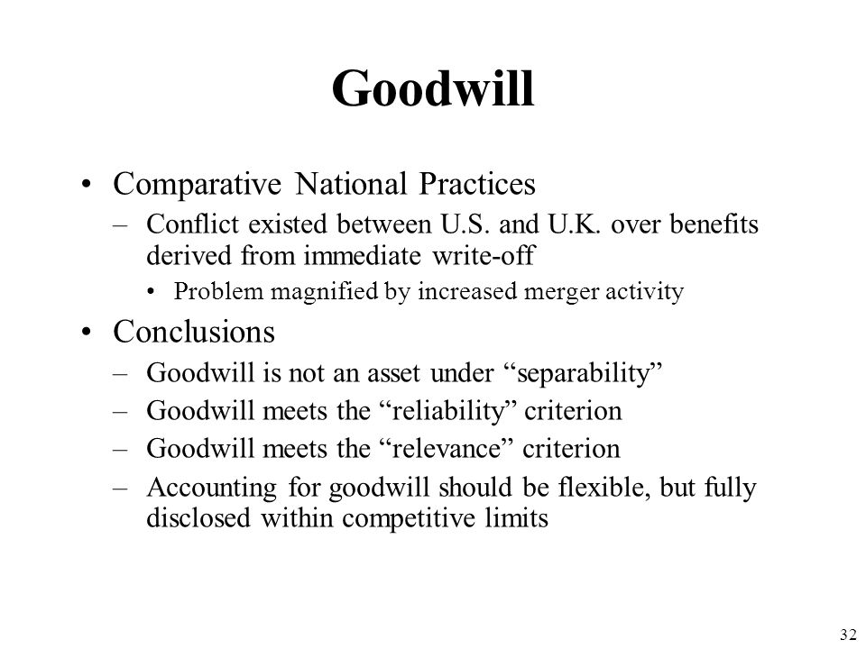 Goodwill Comparative National Practices Conclusions