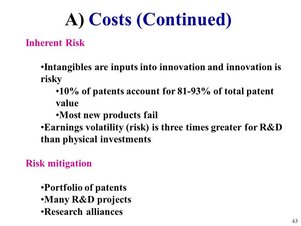 A) Costs (Continued) Inherent Risk