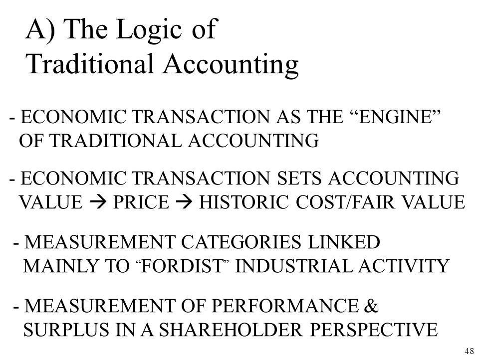 A) The Logic of Traditional Accounting