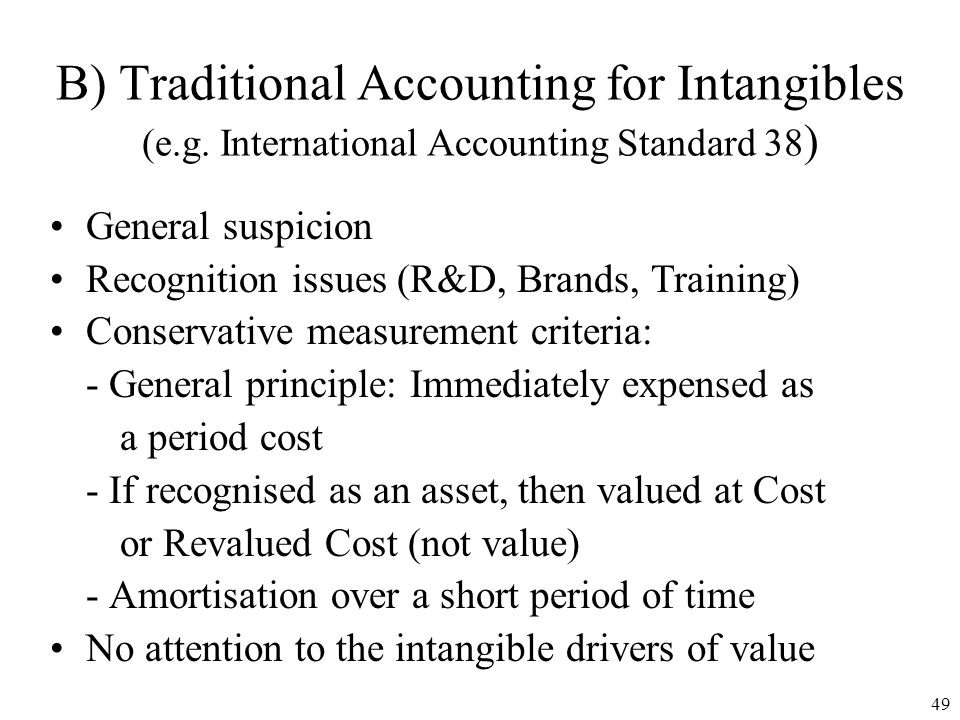 B) Traditional Accounting for Intangibles (e. g