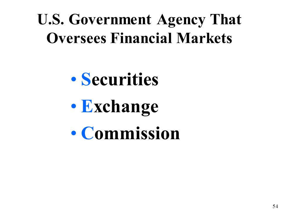 U.S. Government Agency That Oversees Financial Markets