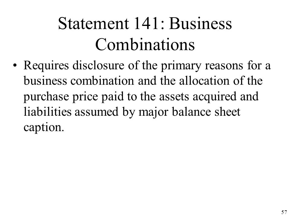 Statement 141: Business Combinations
