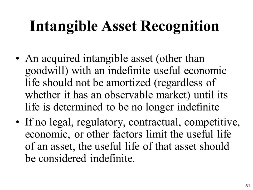 Intangible Asset Recognition