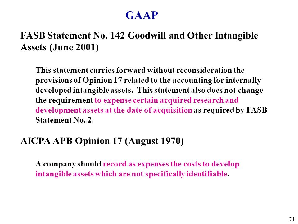 GAAP FASB Statement No. 142 Goodwill and Other Intangible Assets (June 2001)