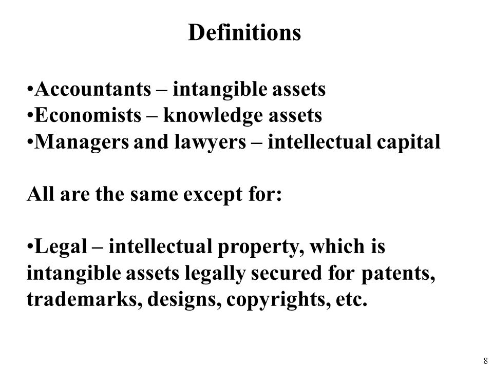 Definitions Accountants – intangible assets