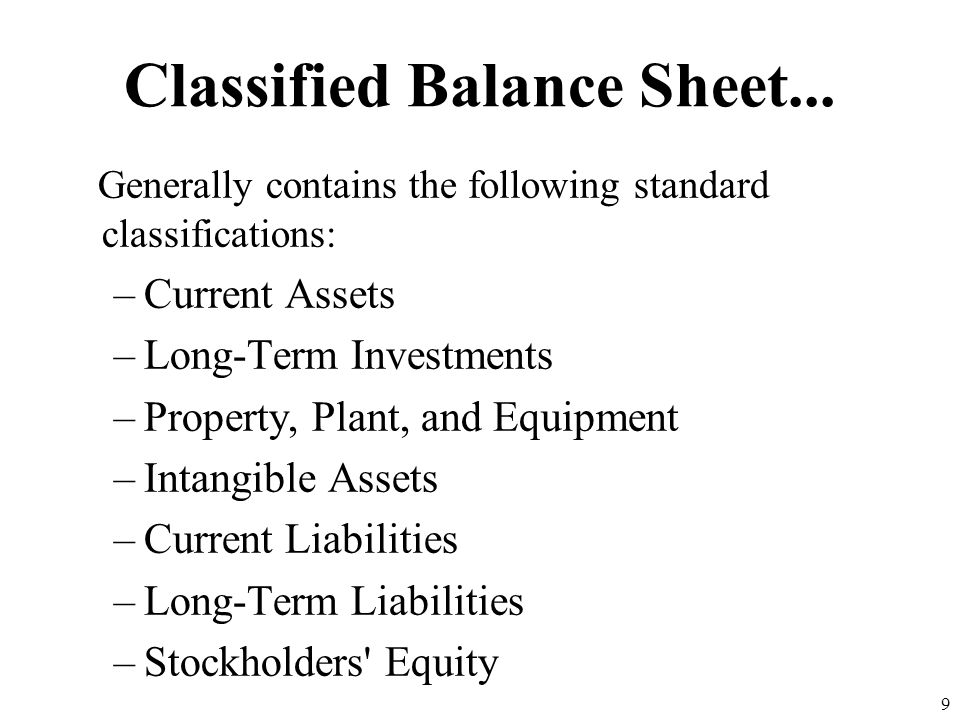 Classified Balance Sheet...