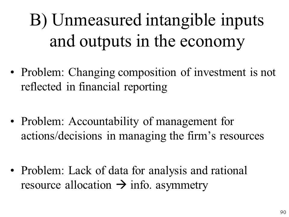 B) Unmeasured intangible inputs and outputs in the economy