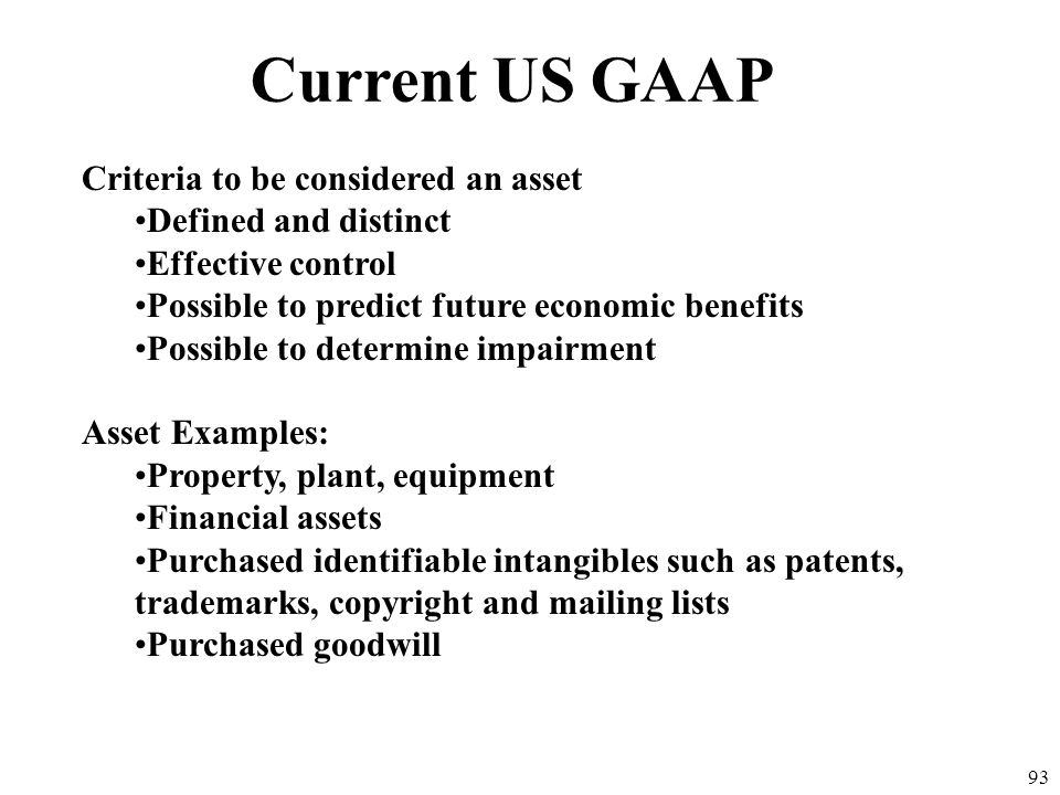 Current US GAAP Criteria to be considered an asset
