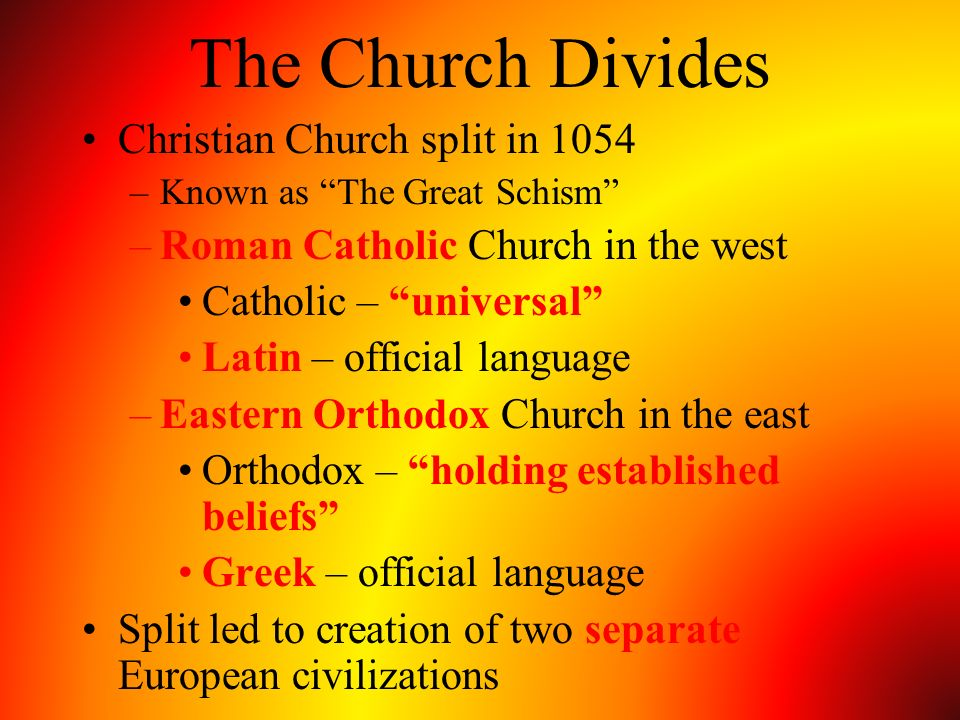 The Church Divides Christian Church split in 1054
