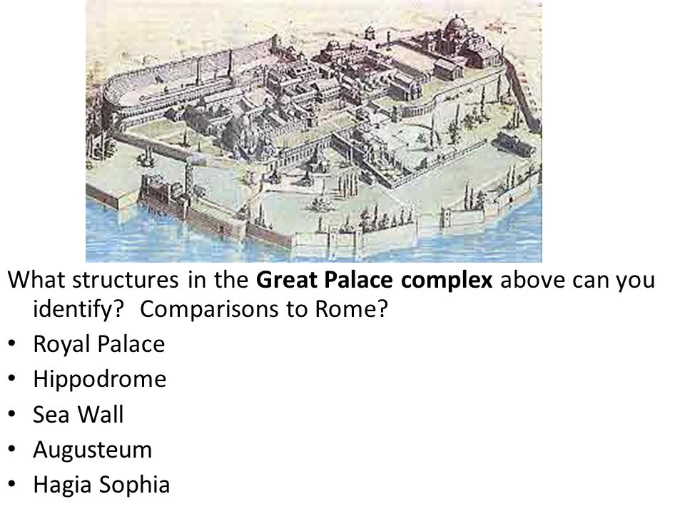 What structures in the Great Palace complex above can you identify