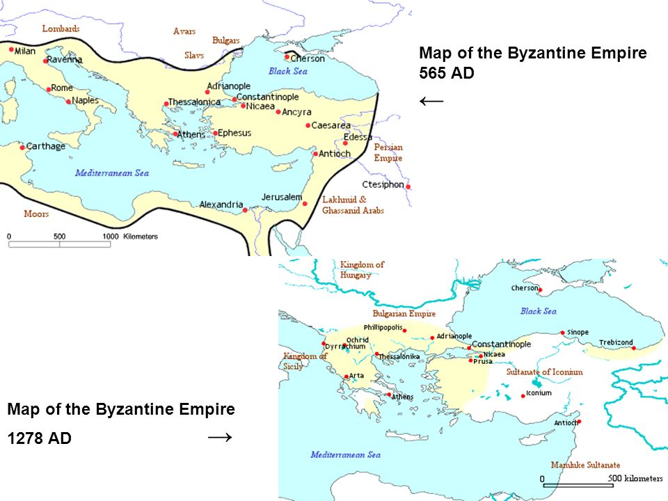 ← Map of the Byzantine Empire 565 AD