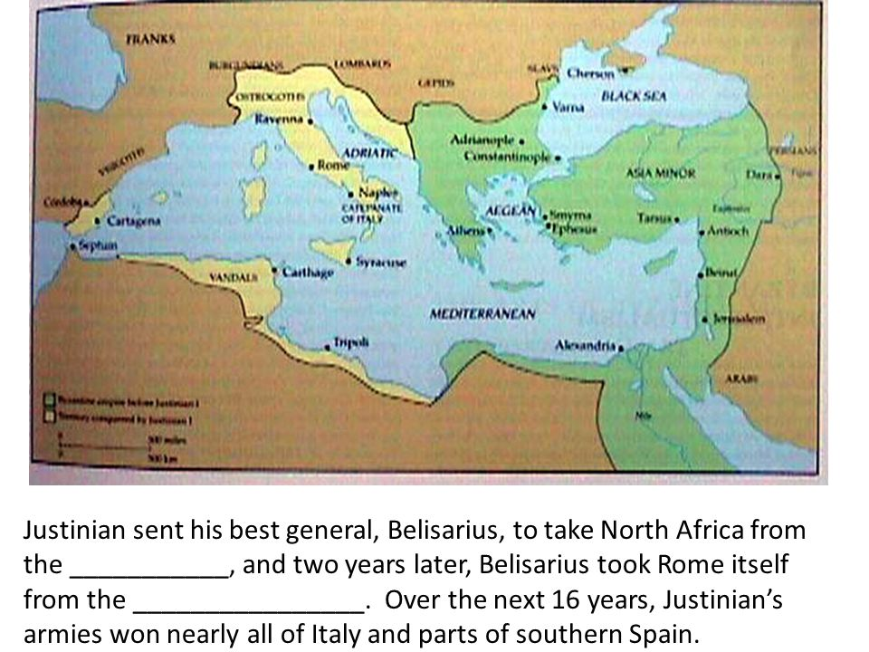 Justinian sent his best general, Belisarius, to take North Africa from the ___________, and two years later, Belisarius took Rome itself from the ________________.