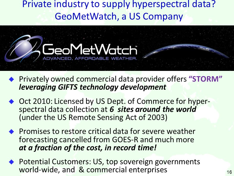 Private industry to supply hyperspectral data