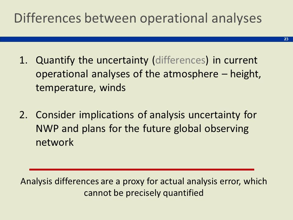 Differences between operational analyses