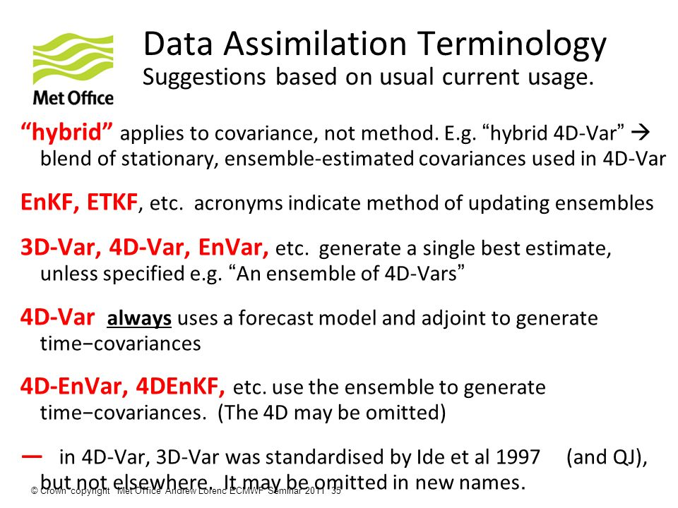 Data Assimilation Terminology Suggestions based on usual current usage.