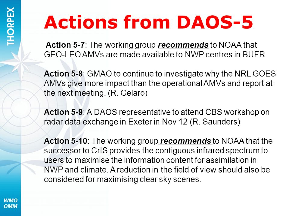 Actions from DAOS-5 Action 5-7: The working group recommends to NOAA that GEO-LEO AMVs are made available to NWP centres in BUFR.
