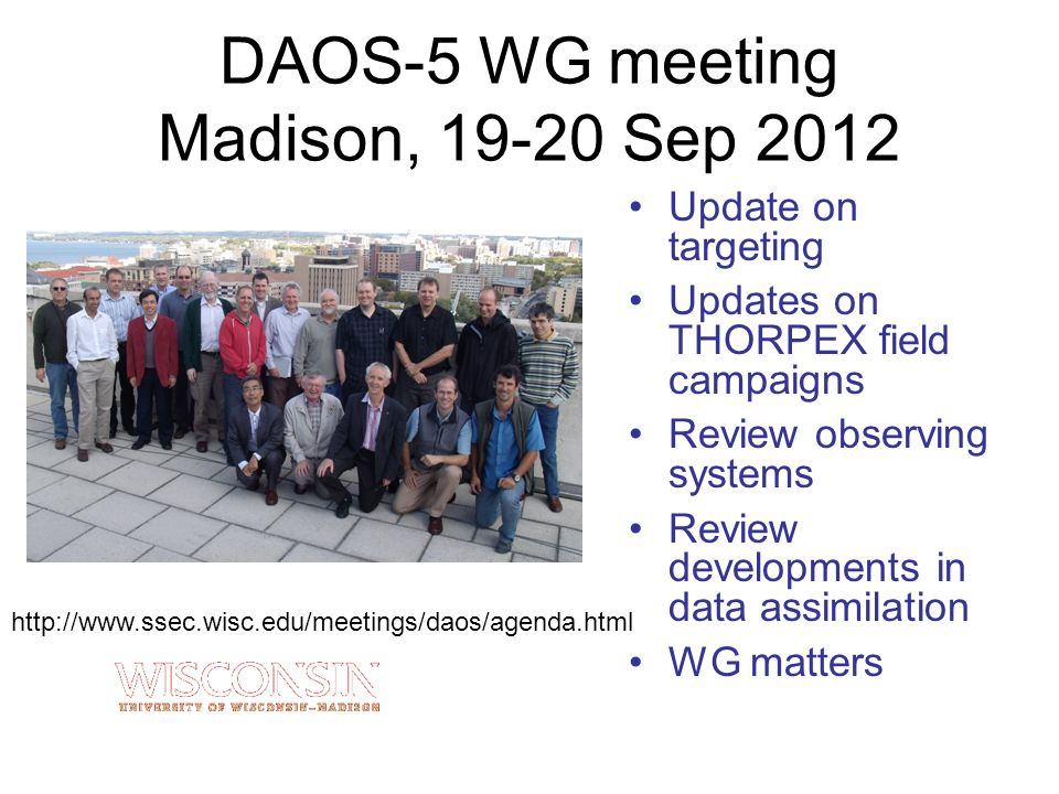 DAOS-5 WG meeting Madison, 19-20 Sep 2012