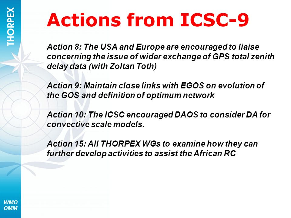 Actions from ICSC-9
