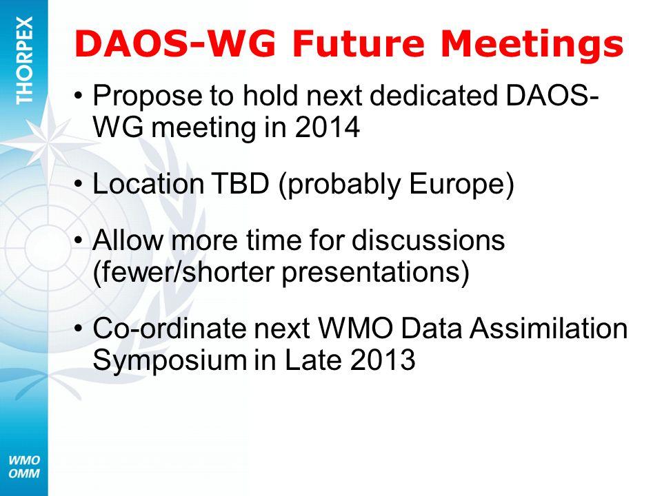 DAOS-WG Future Meetings