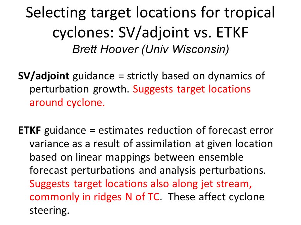 Selecting target locations for tropical cyclones: SV/adjoint vs