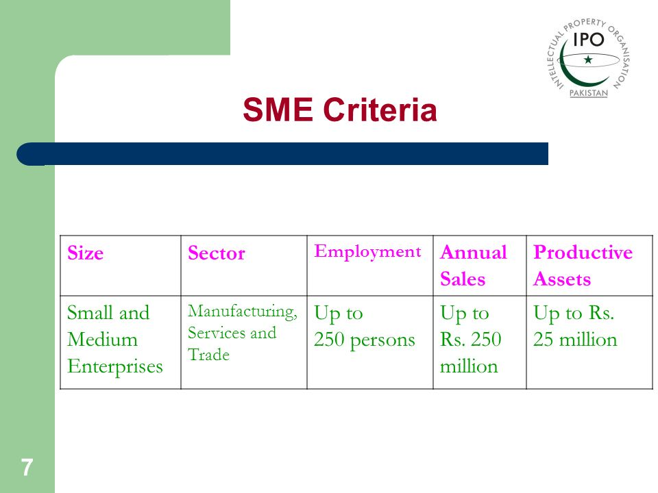 SME Criteria Size Sector Annual Sales Productive Assets Small and