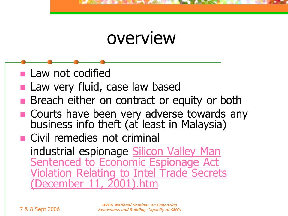 overview Law not codified Law very fluid, case law based