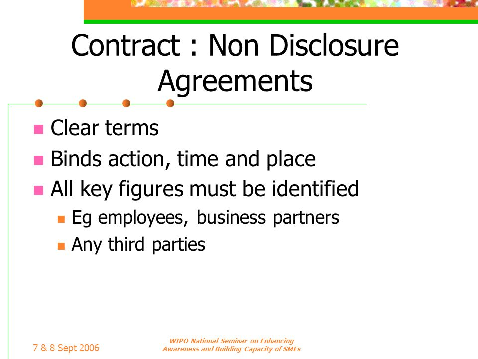 Contract : Non Disclosure Agreements