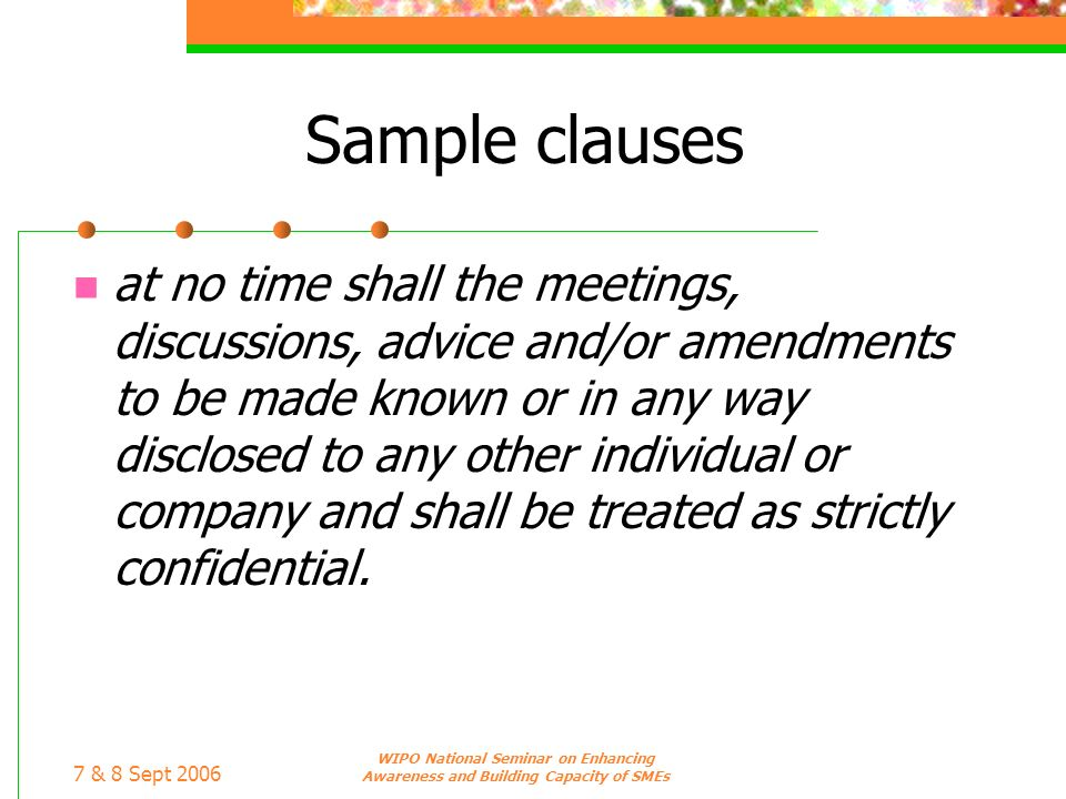 Sample clauses