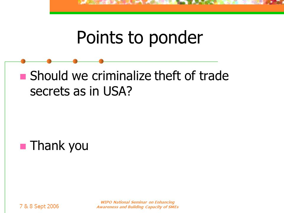 Points to ponder Should we criminalize theft of trade secrets as in USA Thank you. 7 & 8 Sept 2006.