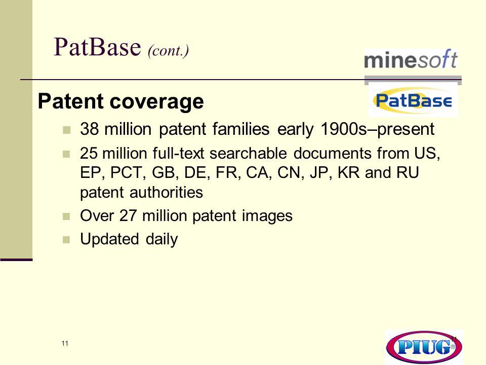 PatBase (cont.) Patent coverage
