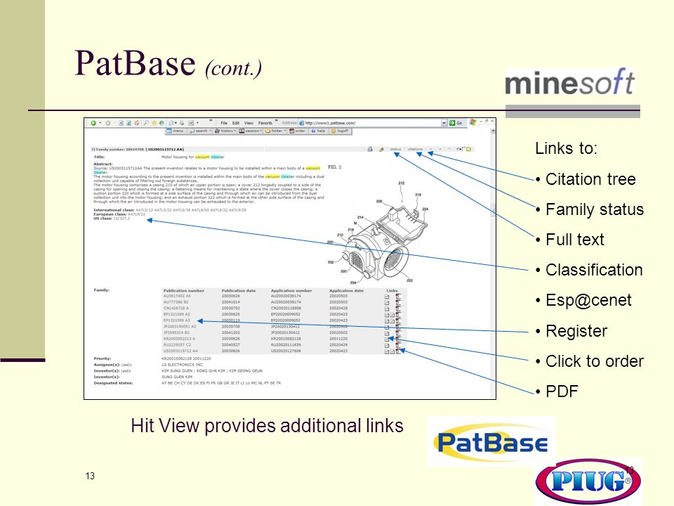 PatBase (cont.) Hit View provides additional links Links to: