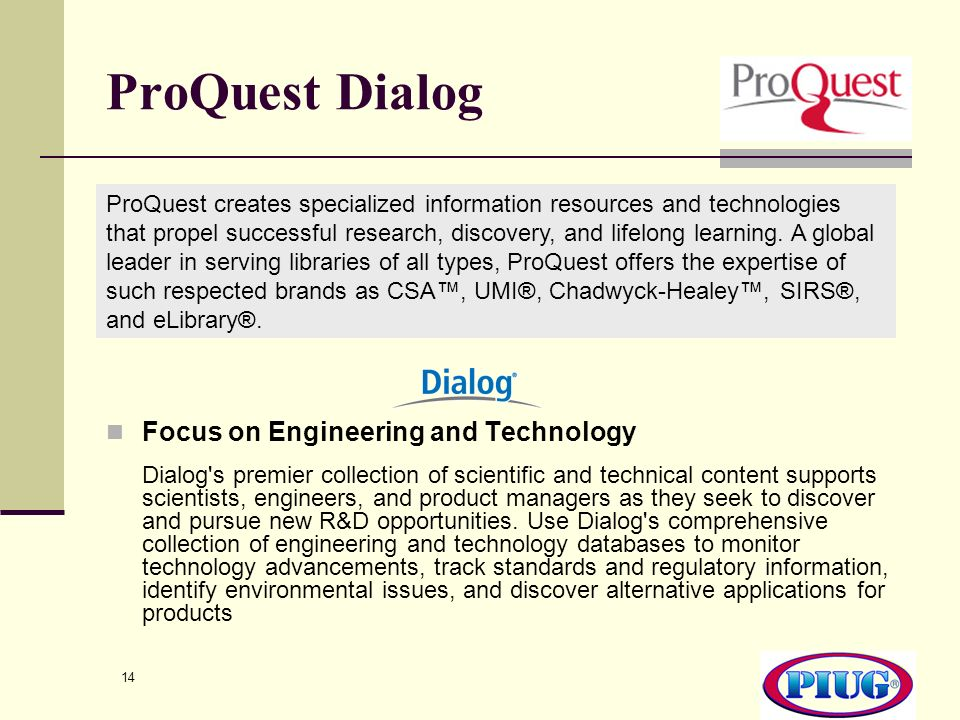 ProQuest Dialog Focus on Engineering and Technology